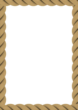 a4: A4 Rectangular Rope Frame Isolated on White