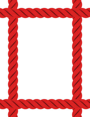 page borders: Extended A4 Rectangular Red Rope Frame Isolated on White