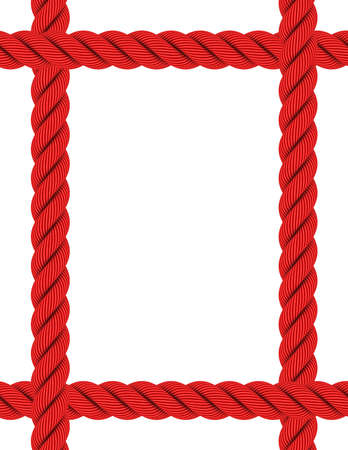 overlapping: Overlapping A4 Rectangular Red Rope Frame Isolated on White
