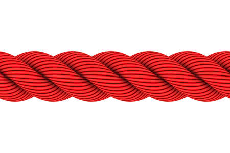 red line: Seamless Tileable Red 3D Rope Illustration Isolated on White Background
