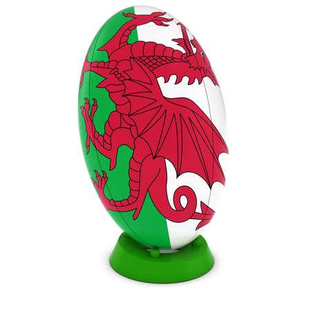 pelota rugby: Gales Rugby - Bandera de Gales en pie Pelota de rugby Foto de archivo