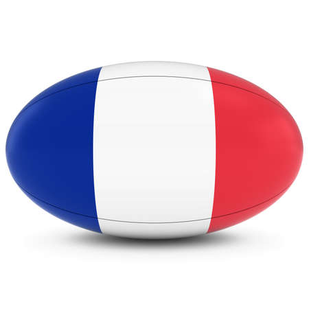 french flag: France Rugby - French Flag on Rugby Ball on White