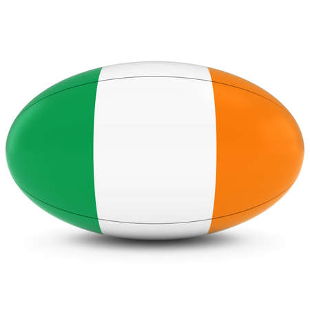 rugby ball: Ireland Rugby - Irish Flag on Rugby Ball on White