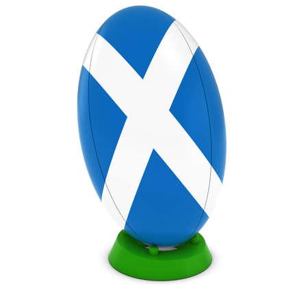 pelota rugby: Escocia Rugby - Bandera escocesa en pie Pelota de rugby