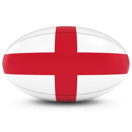 bandiera inglese: England Rugby - bandiera inglese sulla palla da rugby in bianco