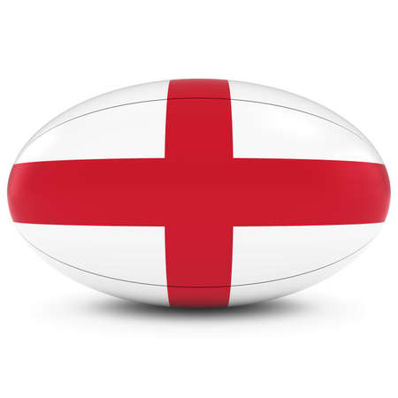rugby ball: Inglaterra Rugby - Bandera Inglés de Pelota de rugby en blanco
