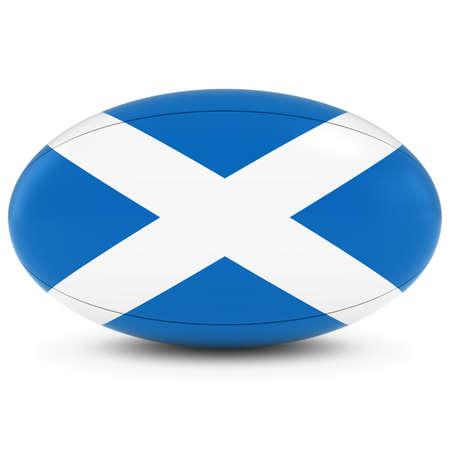 scottish flag: Scotland Rugby - Bandiera scozzese sul Pallone da rugby su bianco