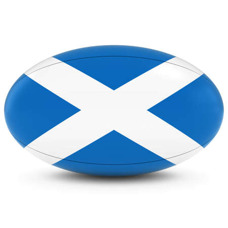 rugby ball: Scotland Rugby - Scottish Flag on Rugby Ball on White