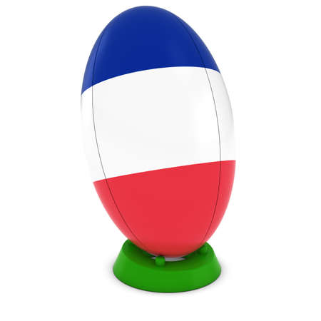 french flag: France Rugby - French Flag on Standing Rugby Ball Stock Photo