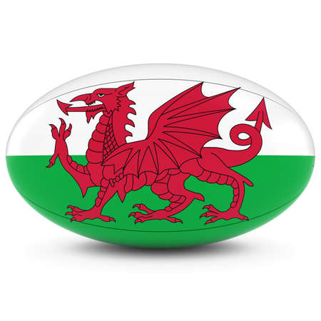 welsh flag: Galles Rugby - Welsh bandiera su palla da rugby in bianco
