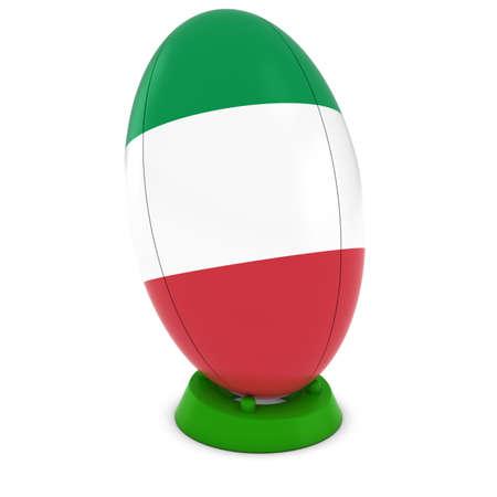 rugby ball: Italia Rugby - bandera italiana en pie Pelota de rugby