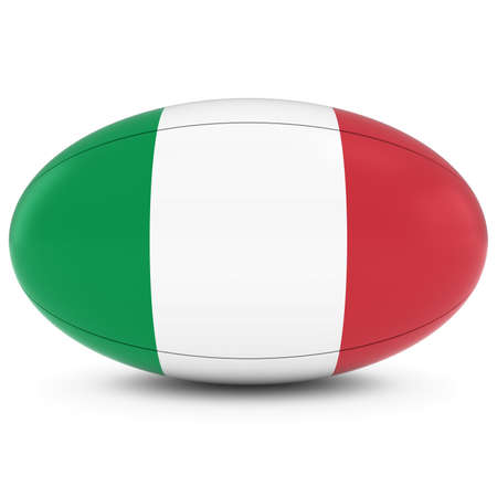 rugby ball: Italy Rugby - Italian Flag on Rugby Ball on White Foto de archivo