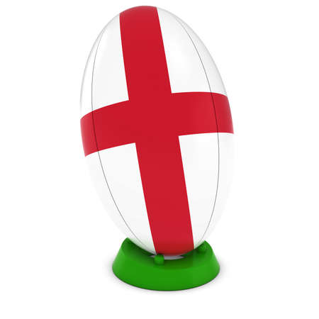 rugby ball: England Rugby - English Flag on Standing Rugby Ball