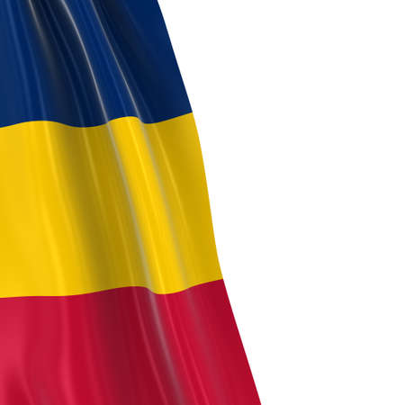 chadian: Hanging Flag of Chad - 3D Render of the Chadian Flag Draped over white background