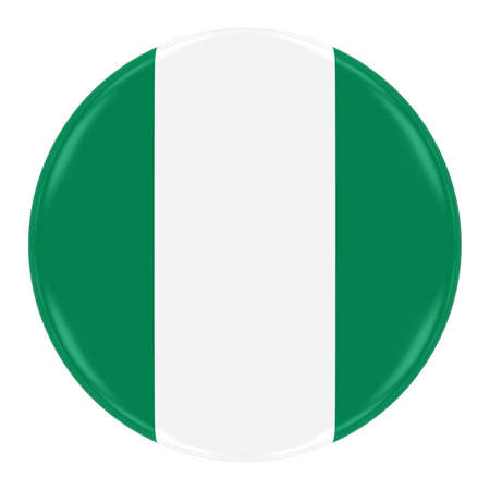 Nigerian Flag Badge - Flag of Nigeria Button Isolated on White
