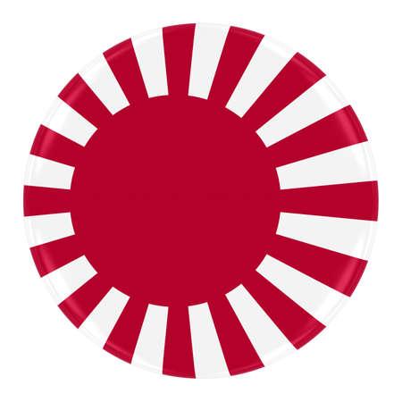 """sol naciente: Cl�sico """"sol naciente"""" insignia de la bandera naval japonesa - Bandera de bot�n de Jap�n aislado en blanco"""