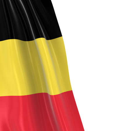 draped: Hanging Flag of Belgium - 3D Render of the Belgian Flag Draped over white background with copyspace for text