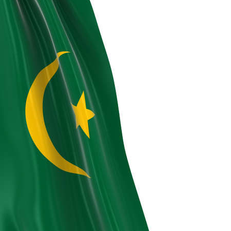 hanging dangling: Hanging Flag of Mauritania - 3D Render of the Mauritanian Flag Draped over white background