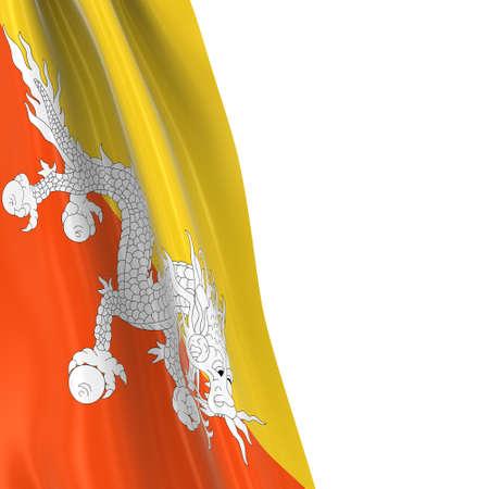 draped: Hanging Flag of Bhutan - 3D Render of the Bhutanese Flag Draped over white background