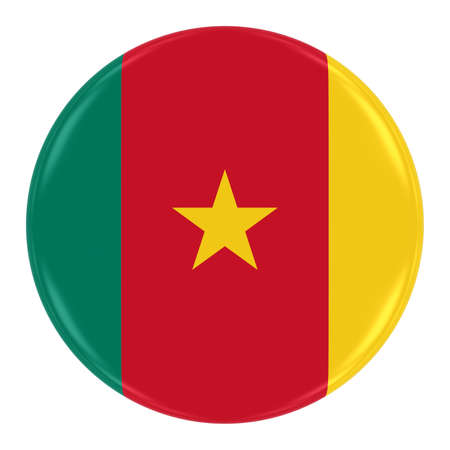 cameroonian: Cameroonian Flag Badge - Flag of Cameroon Button Isolated on White