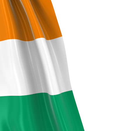 hanging dangling: Hanging Flag of Cote dIvoire - 3D Render of the Ivorian Flag Draped over white background Stock Photo