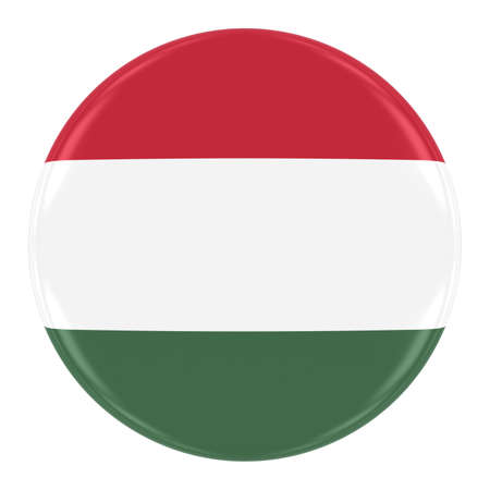 Hungarian Flag Badge - Flag of Hungary Button Isolated on White