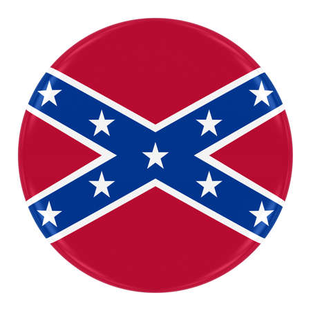 confederacy: Confederate Flag Badge - Flag of the Confederacy Button Isolated on White Stock Photo