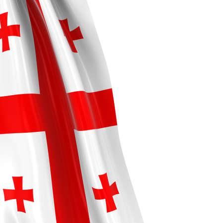 draped: Hanging Flag of Georgia - 3D Render of the Georgian Flag Draped over white background Stock Photo