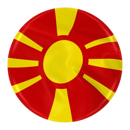 macedonian flag: Waving Macedonian Flag Badge - Button textured with the Flag of Macedonia Isolated on White