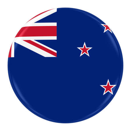 New Zealand Flag Badge - Flag of New Zealand Button Isolated on White
