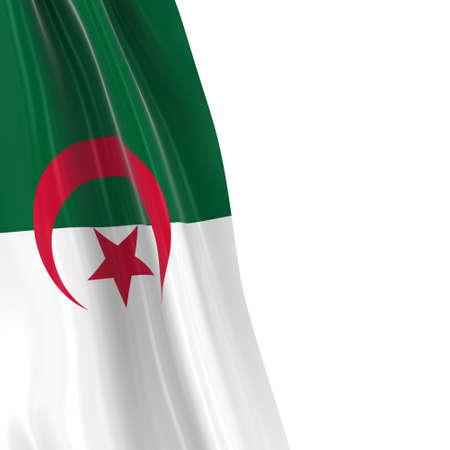 Hanging Flag of Algeria - 3D Render of the Algerian Flag Draped over white background