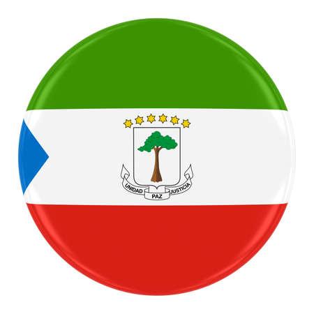 equatorial guinea: Equatorial Guinean Flag Badge - Flag of Equatorial Guinea Button Isolated on White