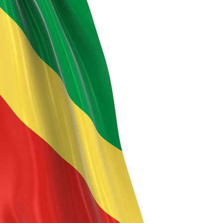 dangling: Hanging Flag of Congo - 3D Render of the Congolese Flag Draped over white background Stock Photo