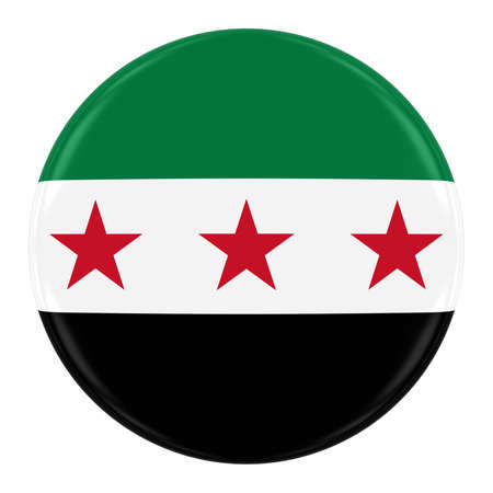 syrian: Syrian Opposition Flag Badge - Flag of the Syria Button Isolated on White Stock Photo