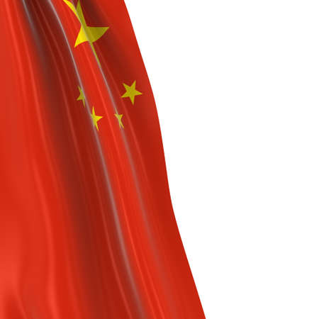 draped: Hanging Flag of China - 3D Render of the Chinese Flag Draped over white background