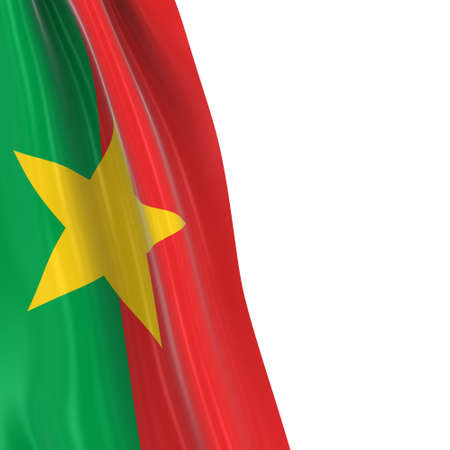hanging dangling: Hanging Flag of Burkina Faso - 3D Render of the Burkinabe Flag Draped over white background