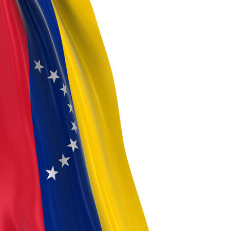 hanging dangling: Hanging Flag of Venezuela - 3D Render of the Venezuelan Flag Draped over white background Stock Photo