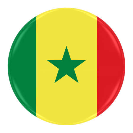 senegalese: Senegalese Flag Badge - Flag of Senegal Button Isolated on White Stock Photo