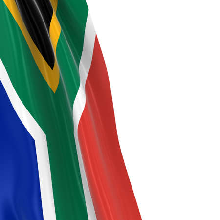 south african flag: Hanging Flag of South Africa - 3D Render of the South African Flag Draped over white background with copyspace for text Stock Photo