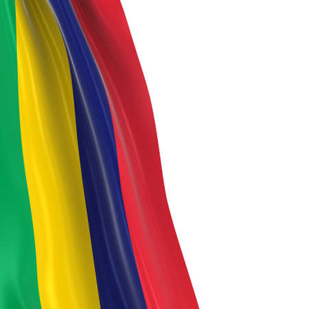 dangling: Hanging Flag of Mauritius - 3D Render of the Mauritian Flag Draped over white background Stock Photo