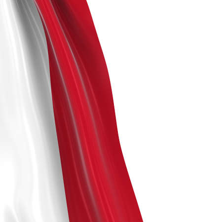 the indonesian flag: Hanging Flag of Indonesia - 3D Render of the Indonesian Flag Draped over white background