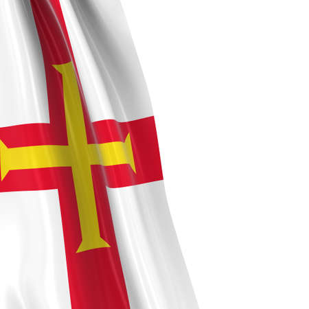 hanging dangling: Hanging Flag of Guernsey - 3D Render of the Guernsey Flag Draped over white background Stock Photo