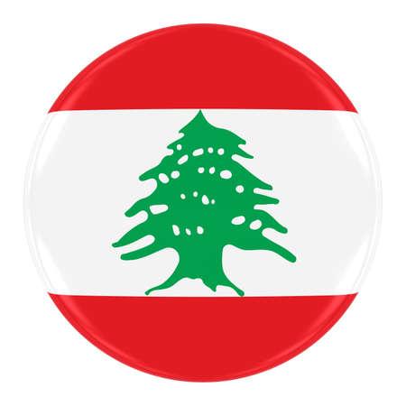 lebanese: Lebanese Flag Badge - Flag of Lebanon Button Isolated on White