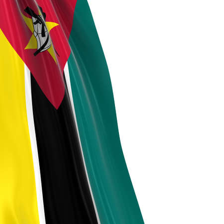 Hanging Flag of Mozambique - 3D Render of the Mozambican Flag Draped over white background Stock Photo