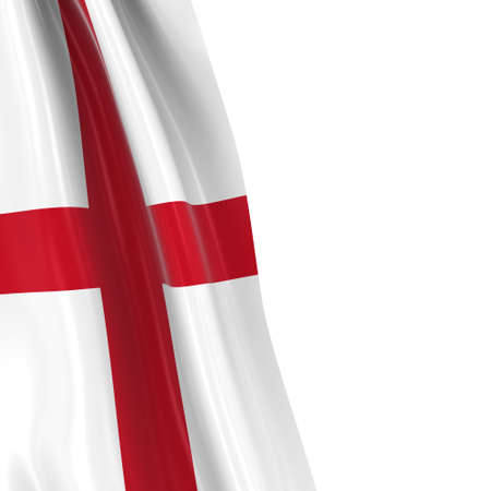 bandera inglesa: Hanging Flag of England - 3D Render of the English Flag Draped over white background with copyspace for text Foto de archivo
