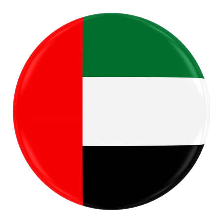 United Arab Emirates Flag Badge - Flag of the UAE Button Isolated on White