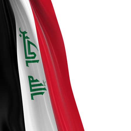 draped: Hanging Flag of Iraq - 3D Render of the Iraqi Flag Draped over white background