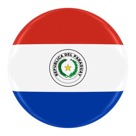 paraguayan: Paraguayan Flag Badge - Flag of Paraguay Button Isolated on White Stock Photo