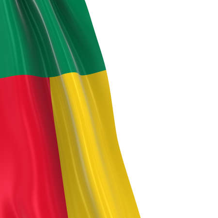 hanging dangling: Hanging Flag of Benin - 3D Render of the Beninese Flag Draped over white background