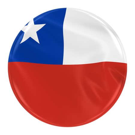 bandera chilena: Agitando la bandera insignia de Chile - Botón con textura con la bandera de Chile aislado en blanco